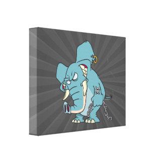 mean badass elephant cartoon canvas print