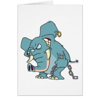 mean badass elephant cartoon cards