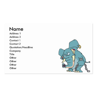 mean badass elephant cartoon Double-Sided standard business cards (Pack of 100)
