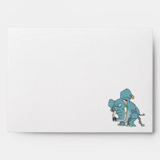 mean badass elephant cartoon envelope