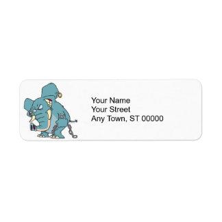 mean badass elephant cartoon custom return address labels