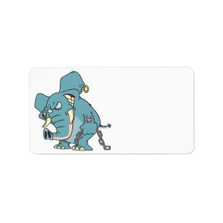 mean badass elephant cartoon personalized address labels