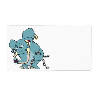mean badass elephant cartoon custom shipping label