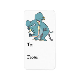 mean badass elephant cartoon personalized address label
