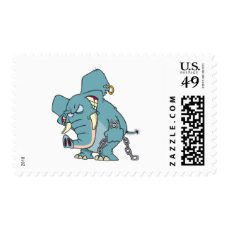 mean badass elephant cartoon postage stamps