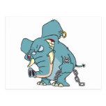 mean badass elephant cartoon postcard