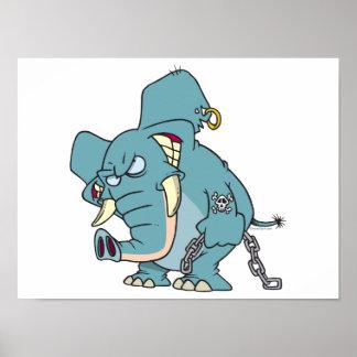 mean badass elephant cartoon print