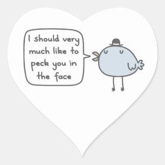 Mean Bird Heart Sticker