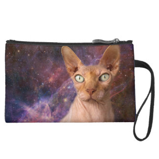 Mean Cat Protects Your Stuff Suede Wristlet