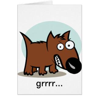 Mean Dog Growling Greeting Card