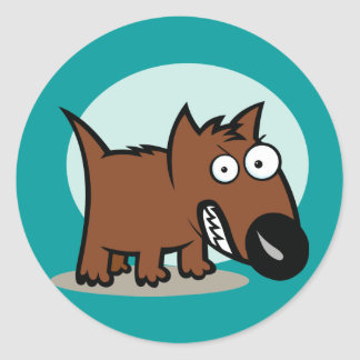 Mean Dog Growling Round Stickers