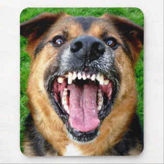 Mean Dog with Big Teeth Mouse Pad