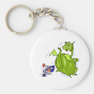 Mean Dragon Poked by Knight Keychain