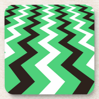 Mean Green and White Fast Lane Chevrons Beverage Coaster