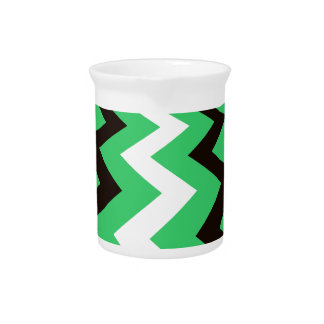 Mean Green and White Fast Lane Chevrons Beverage Pitchers