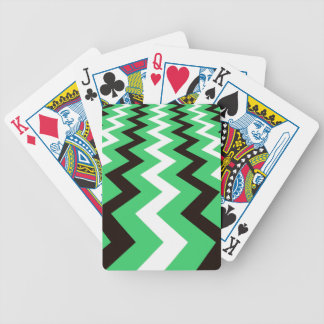 Mean Green and White Fast Lane Chevrons Bicycle Playing Cards