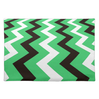 Mean Green and White Fast Lane Chevrons Cloth Placemat