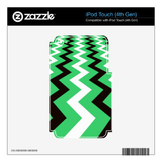 Mean Green and White Fast Lane Chevrons Decals For iPod Touch 4G