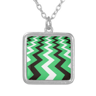 Mean Green and White Fast Lane Chevrons Square Pendant Necklace