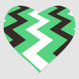 Mean Green and White Fast Lane Chevrons Heart Sticker