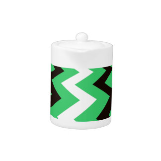 Mean Green and White Fast Lane Chevrons Teapot