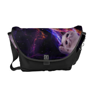 Mean grumpy cat in space courier bag