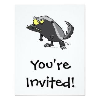 mean honey badger cartoon character card