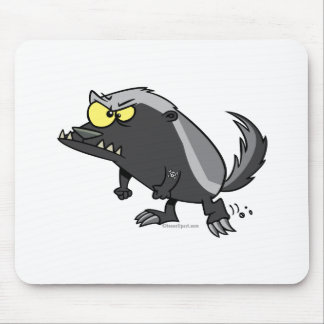 mean honey badger cartoon character mouse pad