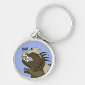 Mean Monster With Kawaii Person Key Chain