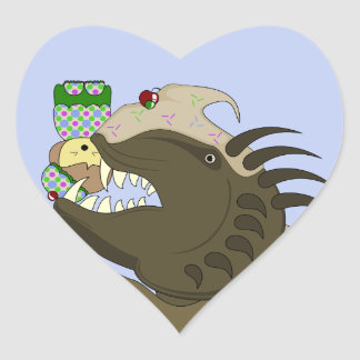 Mean Monster With Kawaii Person Heart Sticker