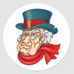 Mean Old Scrooge Round Stickers