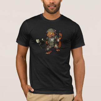 Mean Sci-fi Marine Ginger Cat Firing Gun Cartoon T-Shirt