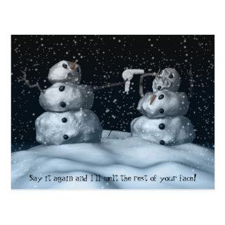 Mean Snowman Postcard