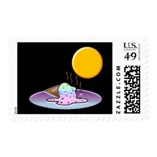 Mean Sun Melts Ice Cream Postage Stamp
