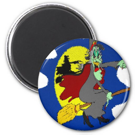 mean witch 2 inch round magnet
