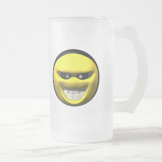 Mean yellow face smiley frosted glass beer mug