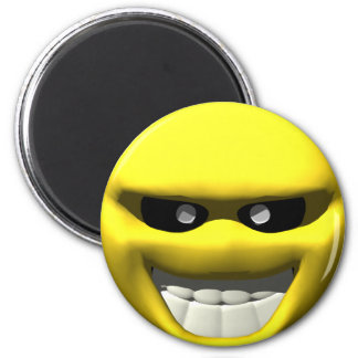 Mean yellow face smiley 2 inch round magnet