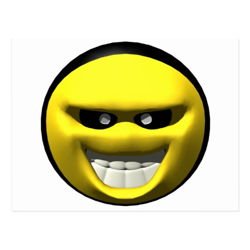 Mean yellow face smiley post card