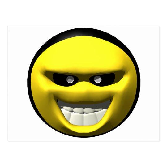 Mean yellow face smiley postcard