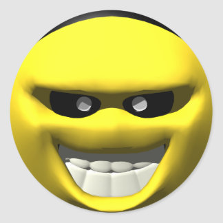 Mean yellow face smiley classic round sticker