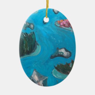 Meandering Mountain River -Expressionism landscape Ceramic Ornament