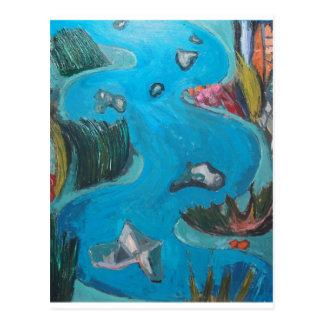 Meandering Mountain River -Expressionism landscape Postcard