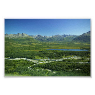 Meandering River in Mountain Valley Posters