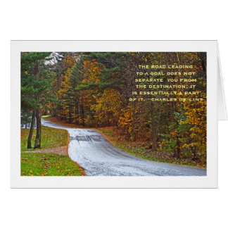 Meandering Road Through Woods In Autumn Card