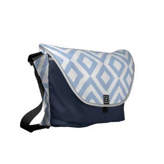 Meandro azul claro y blanco bolsa de mensajeria