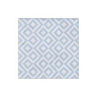 Meandro azul claro y blanco imán de piedra