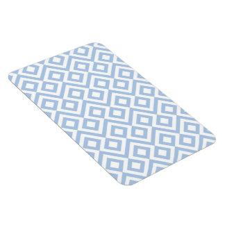 Meandro azul claro y blanco imán foto rectangular