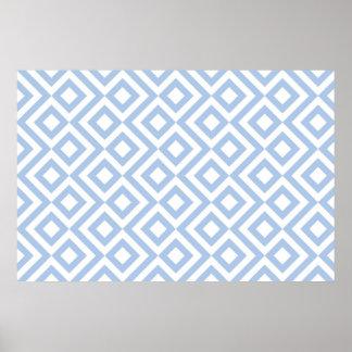 Meandro azul claro y blanco póster