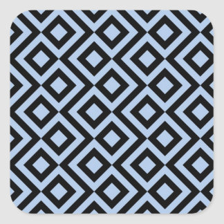 Meandro azul claro y negro pegatina cuadrada