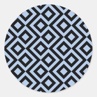 Meandro azul claro y negro pegatina redonda